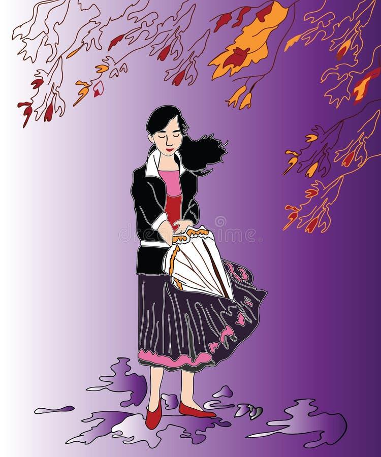 Dziewczyna w dżdżystej pogodzie royalty ilustracja