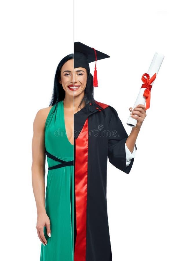 Dziewczyna w dwa zajęciach model i uniwersytet kończymy studia zdjęcia royalty free