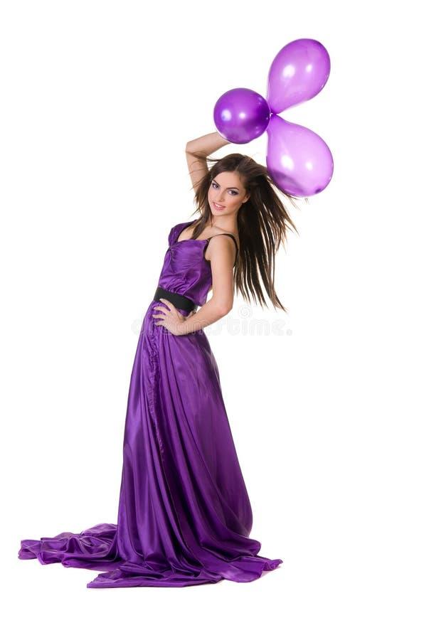 Dziewczyna w fiołka sukni, target768_1_ balony zdjęcia stock