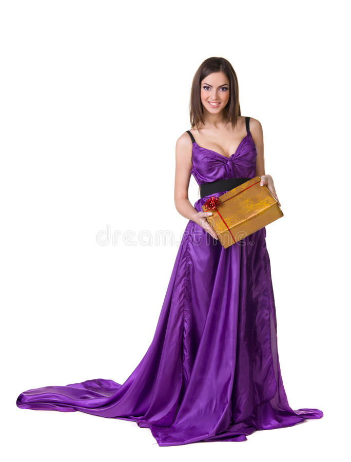 Dziewczyna w fiołka sukni, target947_1_ prezenta pudełko zdjęcie royalty free