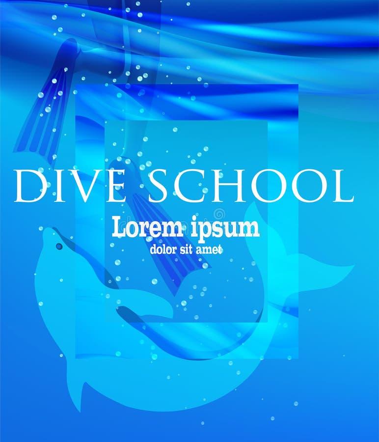 Dziewczyna w flippers i delfin w wodzie morskiej Nura szkolny plakat ilustracja wektor