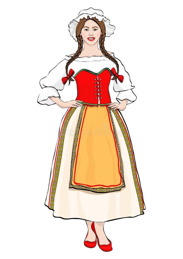 Dziewczyna w Francuskiej krajowej kostiumowej trwanie frontowej stronie, wektor royalty ilustracja