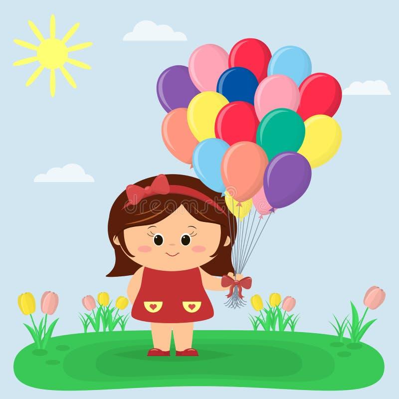 Dziewczyna w, halizna z tulipanami słońce, niebo, i ilustracja wektor