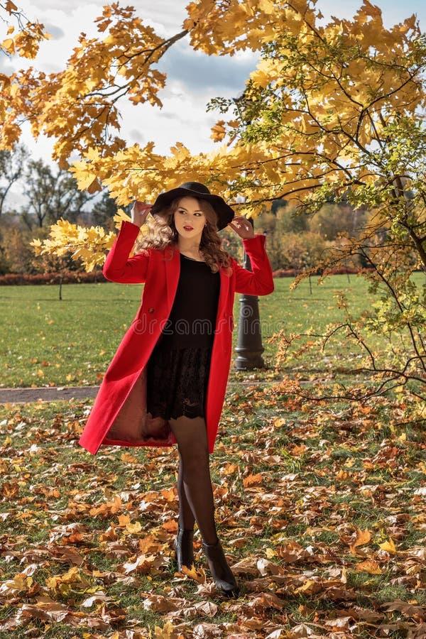 dziewczyna w jesień parka pozyci pod silnym wiatrem i mieniem, jej kapelusz więc ja no lata daleko od zdjęcie royalty free