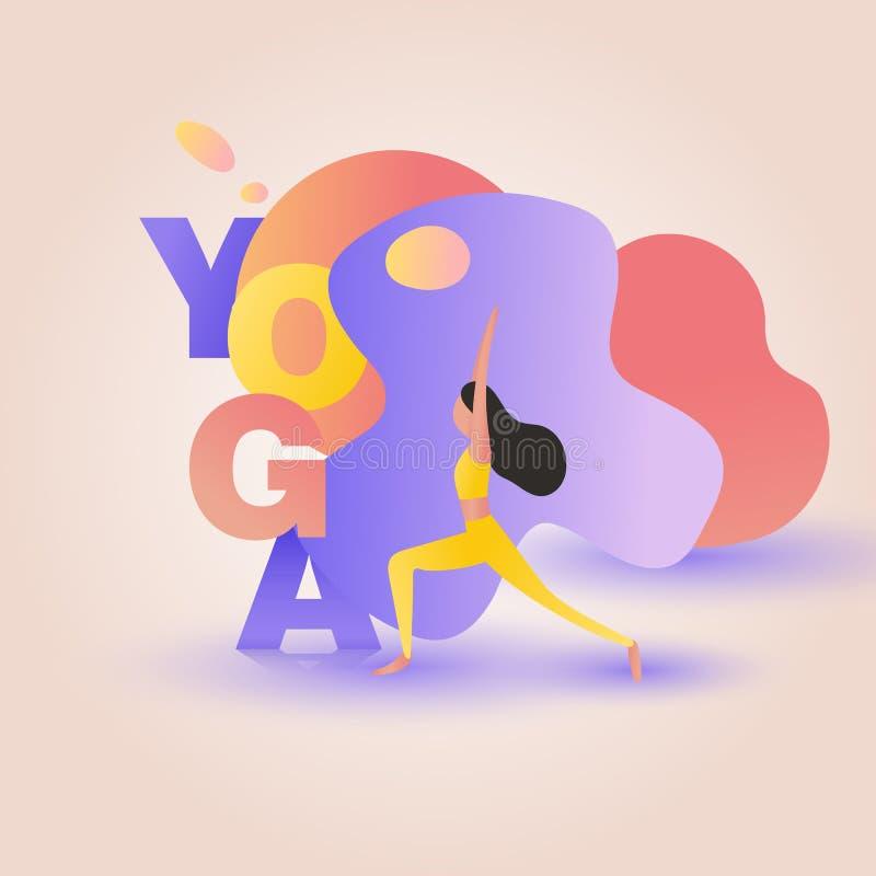 Dziewczyna w joga pozy wojowniku ilustracja wektor