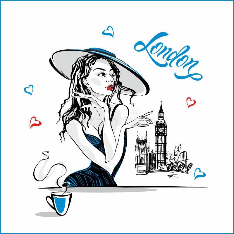 Dziewczyna w kapeluszowej pije kawie Moda model w Londyn big bena Romantyczny skład Elegancki model na wakacje wakacje royalty ilustracja