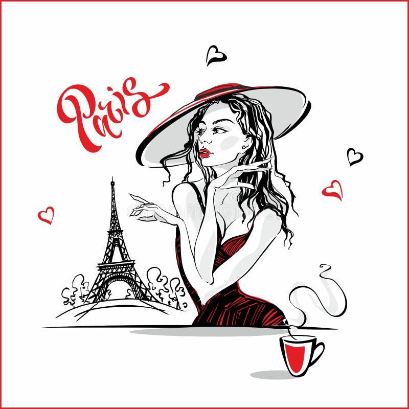 Dziewczyna w kapeluszowej pije kawie wzór mody Paryża wieża eiffla Romantyczny skład Elegancki model na wakacje tour ilustracji