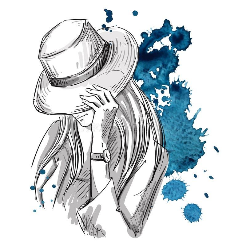 Dziewczyna w kapeluszowy patrzeć w dół Mody ilustracja royalty ilustracja