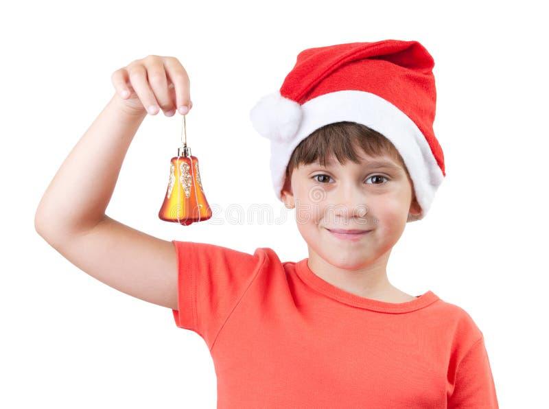 Dziewczyna w kapeluszu Święty Mikołaj zdjęcie stock