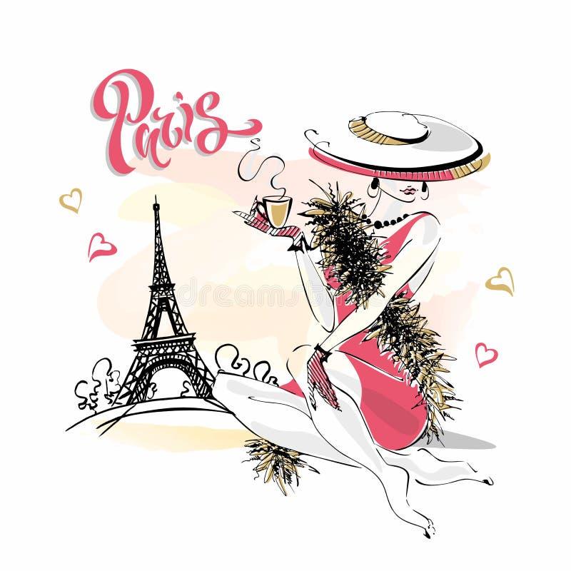 Dziewczyna w kapeluszu pije kaw? wz?r mody Pary?a wie?a eiffla Romantyczny sk?ad Elegancki model na wakacje wektor ilustracja wektor