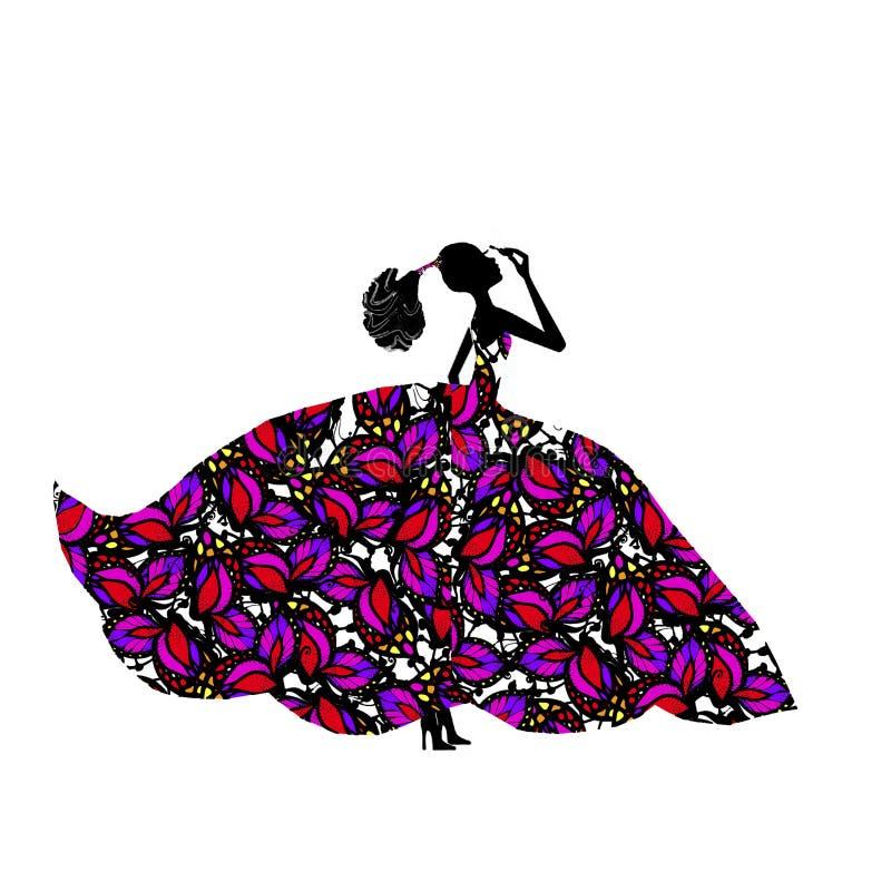Dziewczyna w kolorowej bujny sukni z tuszem do rzęs grafit ilustracji