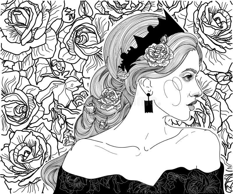 Dziewczyna w koronie królowa royalty ilustracja