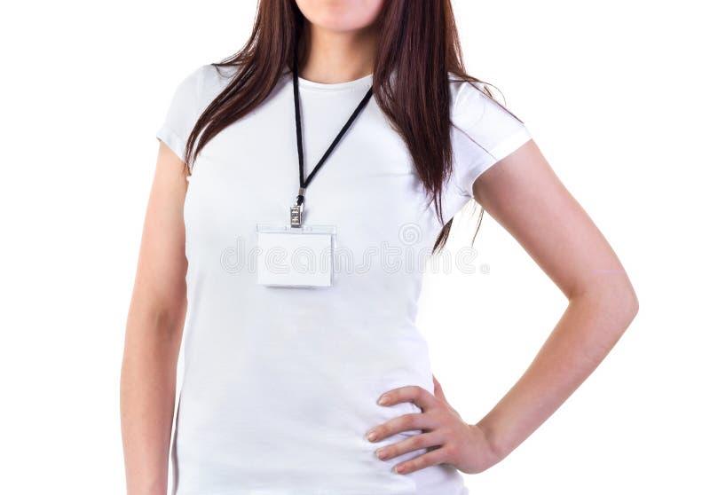 Dziewczyna w koszulce z odznaka egzaminem próbnym zdjęcia stock