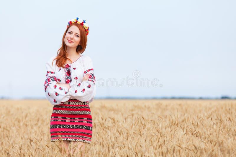 Dziewczyna w krajowy ukraińskim odziewa zdjęcie stock