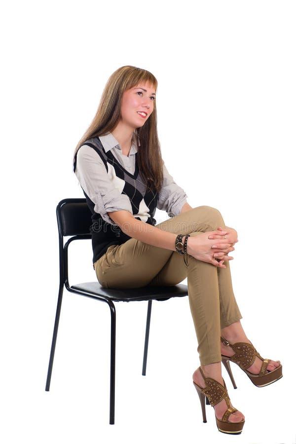 Dziewczyna w krześle zdjęcie stock