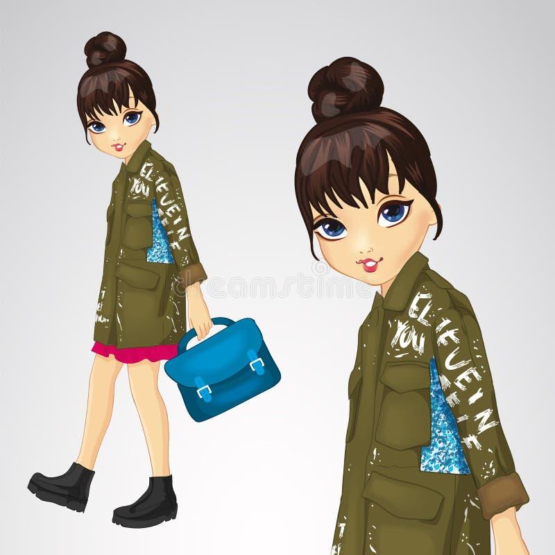 Dziewczyna W kurtce Z słowami royalty ilustracja