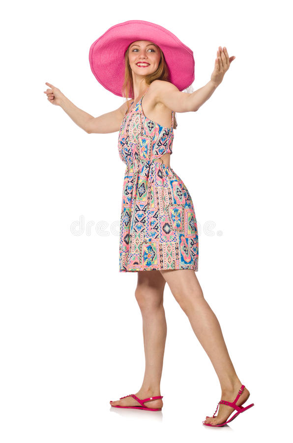 Dziewczyna w lata światła kapeluszu i sukni zdjęcia stock