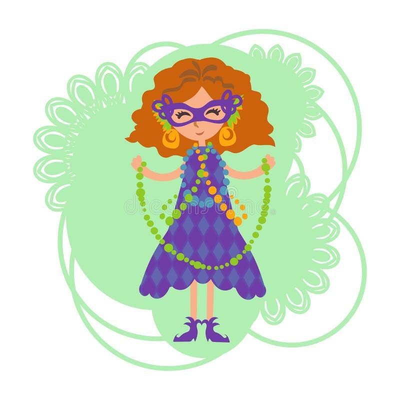 Dziewczyna w masce z koralikami ilustracji
