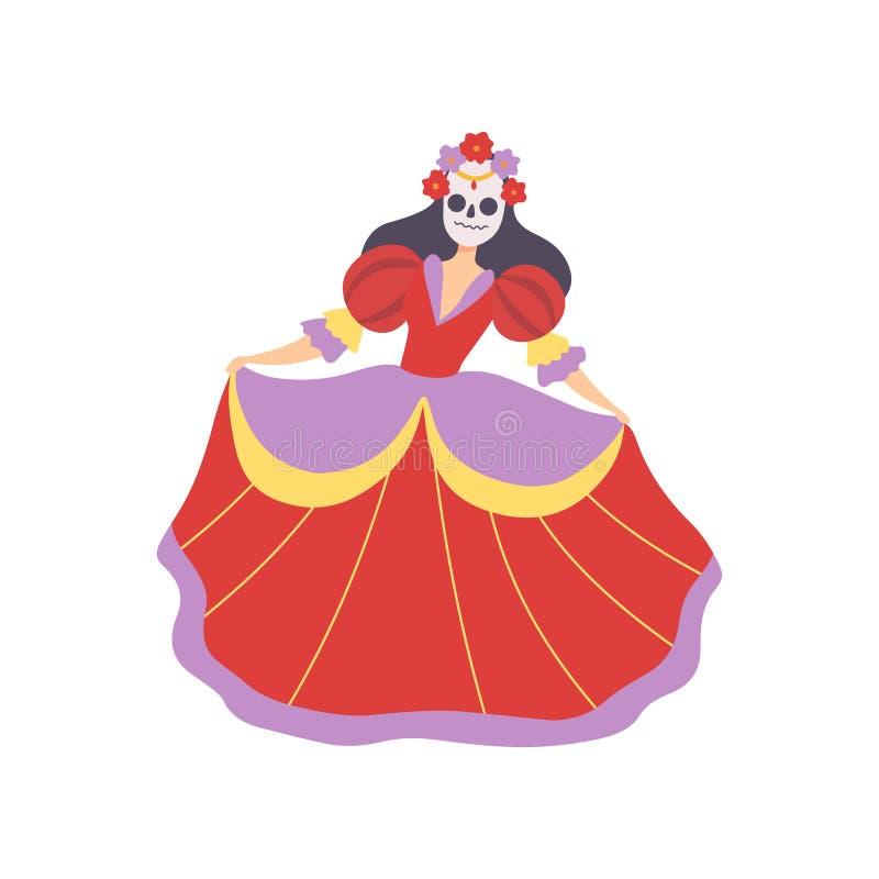 Dziewczyna w Meksykańskiej Tradycyjnej sukni i kwiatu czaszki masce, dzień Nieżywy festiwalu kostium, Maskaradowa piłka, karnawał ilustracji