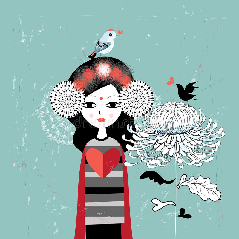Dziewczyna w miłości royalty ilustracja