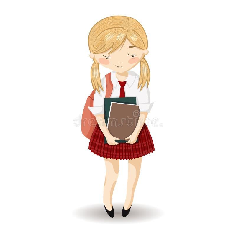 dziewczyna w mundurek szkolny royalty ilustracja