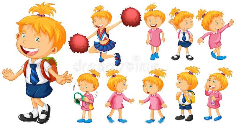 Dziewczyna w mundurku szkolnym i innych kostiumach ilustracji