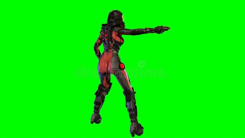 Dziewczyna w nieba fy astronautycznym kostiumu 3d odpłaca się ilustracja wektor