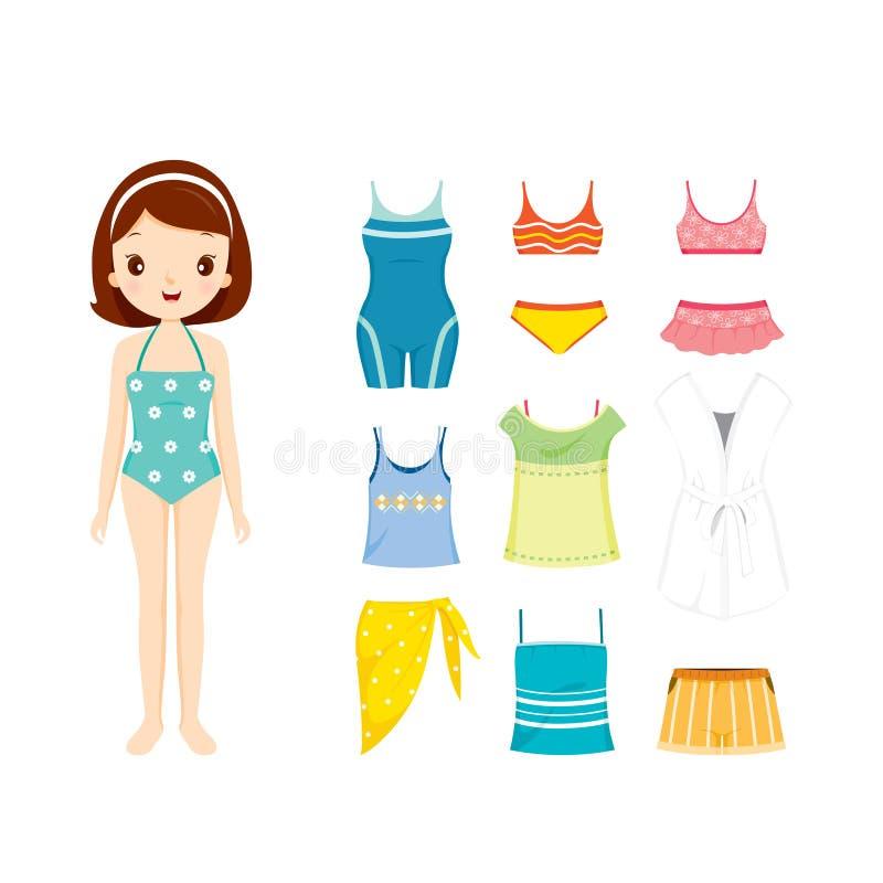 Dziewczyna W Pływackim kostiumu I ubraniach Ustawiających Dla lata ilustracji