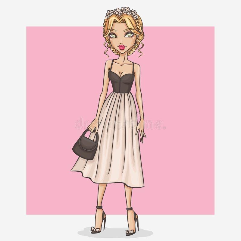 Dziewczyna w pięknej i romantycznej sukni ilustracji