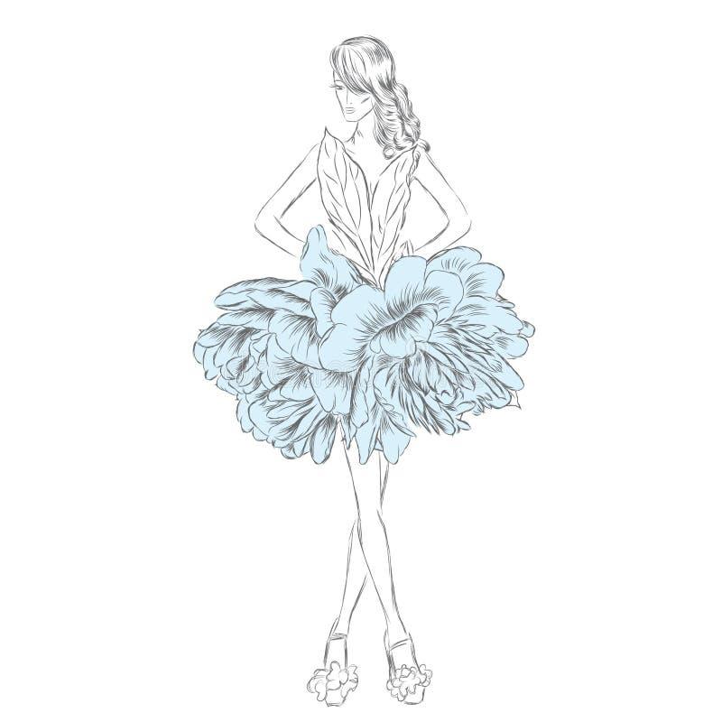 Dziewczyna w pięknej sukni kwiaty Wektorowa ilustracja dla plakata lub karty Moda & styl ilustracji