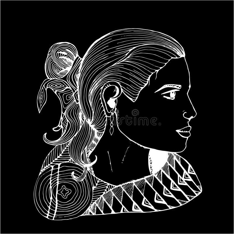 Dziewczyna w profilu w indianinie odziewa Czarny i bia?y rysunek Kreda na blackboard royalty ilustracja