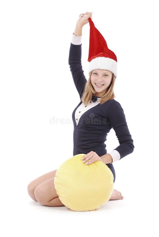 Dziewczyna w przebraniu Święty Mikołaj obraz royalty free
