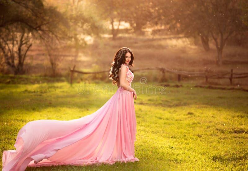 Dziewczyna w przejrzystej menchii sukni obrazy stock