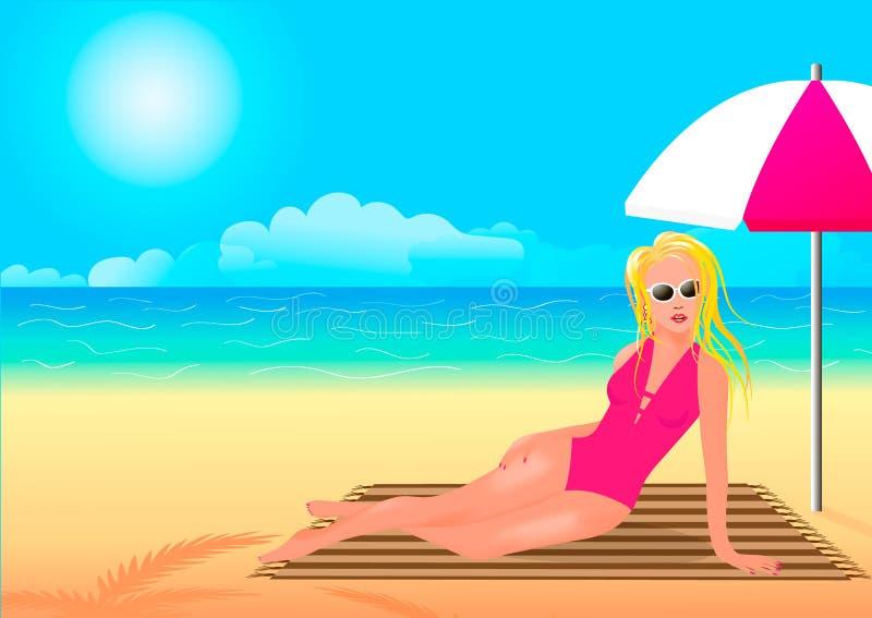 Dziewczyna w różowym kostiumu kąpielowym chuje od słońca pod parasolem royalty ilustracja