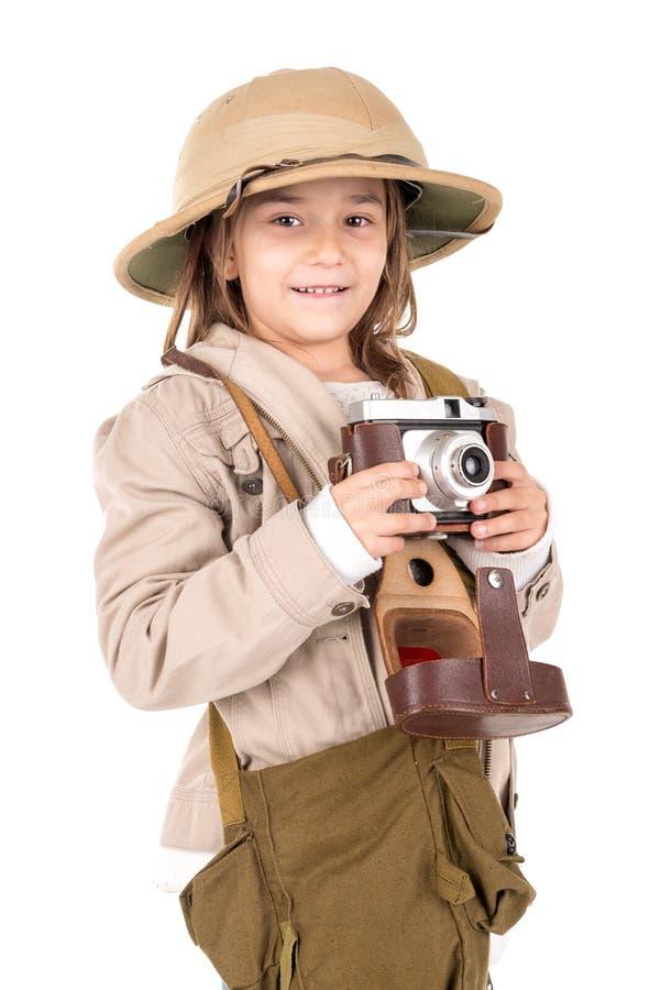 Dziewczyna w safari kostiumu fotografia stock