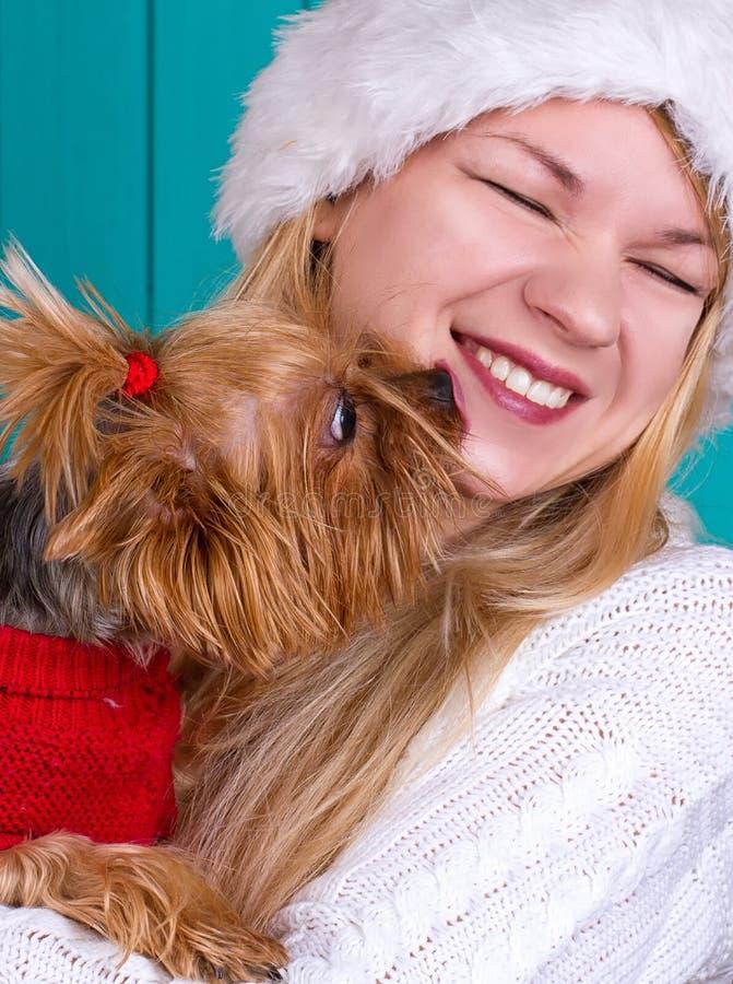 Dziewczyna w Santa nakrętce z yorkie psem w czerwonym pulowerze zdjęcie stock