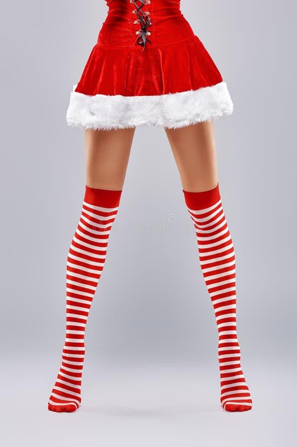 Dziewczyna w Santa sukni fotografia stock