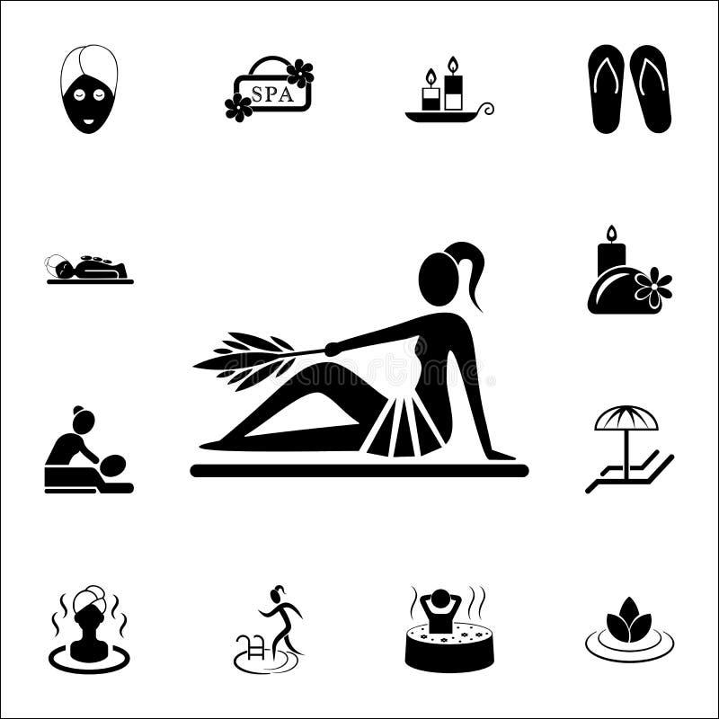 dziewczyna w sauna ikonie ZDRÓJ ikon ogólnoludzki ustawiający dla sieci i wiszącej ozdoby ilustracji