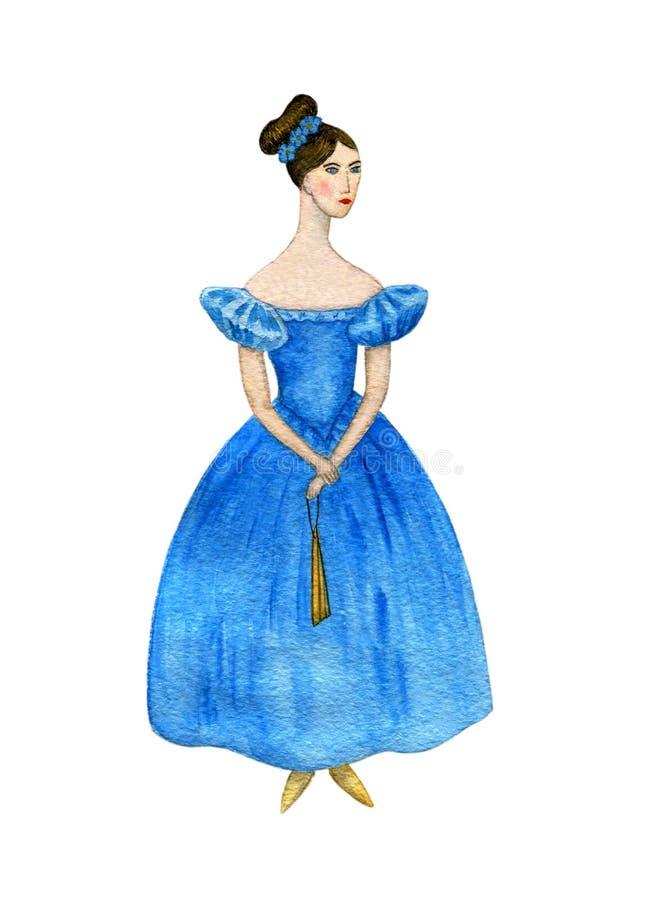 Dziewczyna w sukni xix wiek akwarela ilustracja wektor