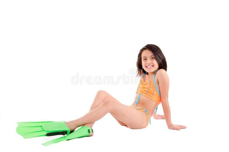 Dziewczyna w swimsuit, beachwear, studio strzał, akwalung zdjęcie stock