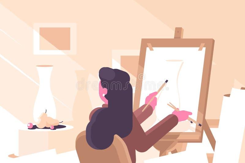 Dziewczyna w szkoły artystycznej mieszkania plakacie ilustracja wektor