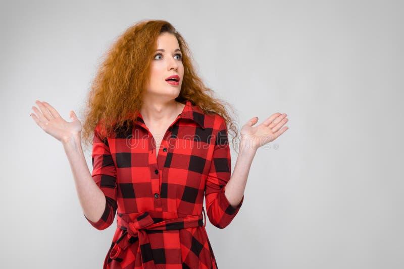 Dziewczyna w szkockiej kraty koszula rozprzestrzenia ona out strony ręki dziewczyn potomstwa włosiani czerwoni obraz royalty free