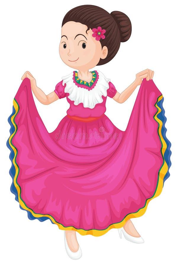 Dziewczyna w tradycyjnej sukni royalty ilustracja