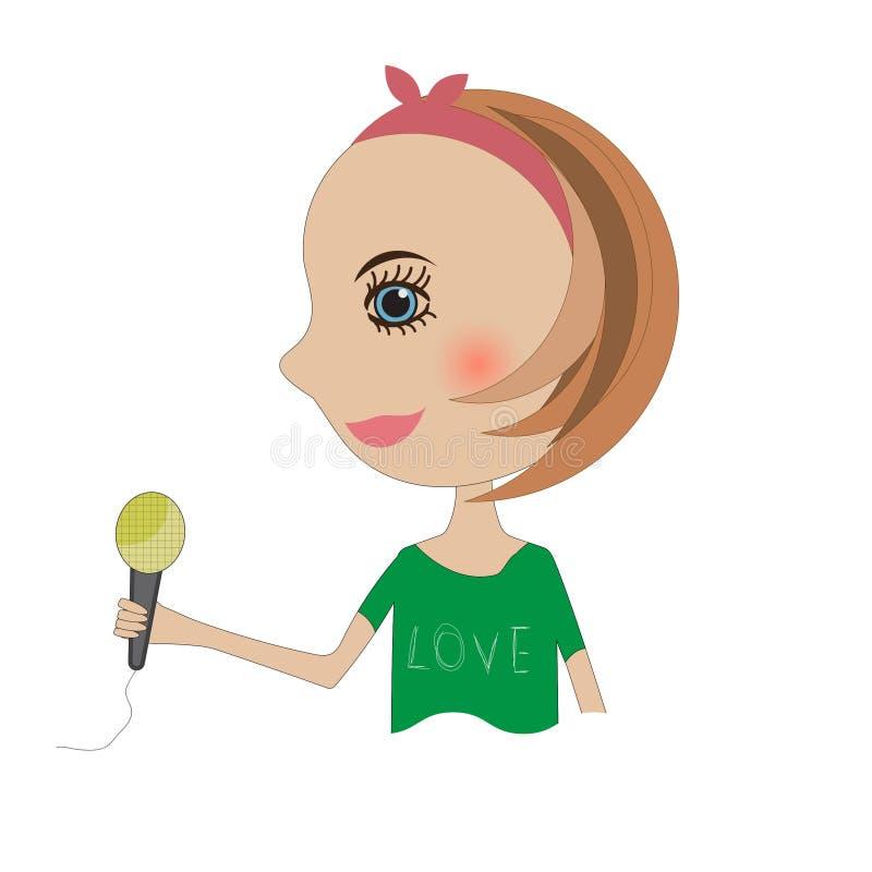 Dziewczyna w zieleni trzyma mikrofon ilustracja wektor