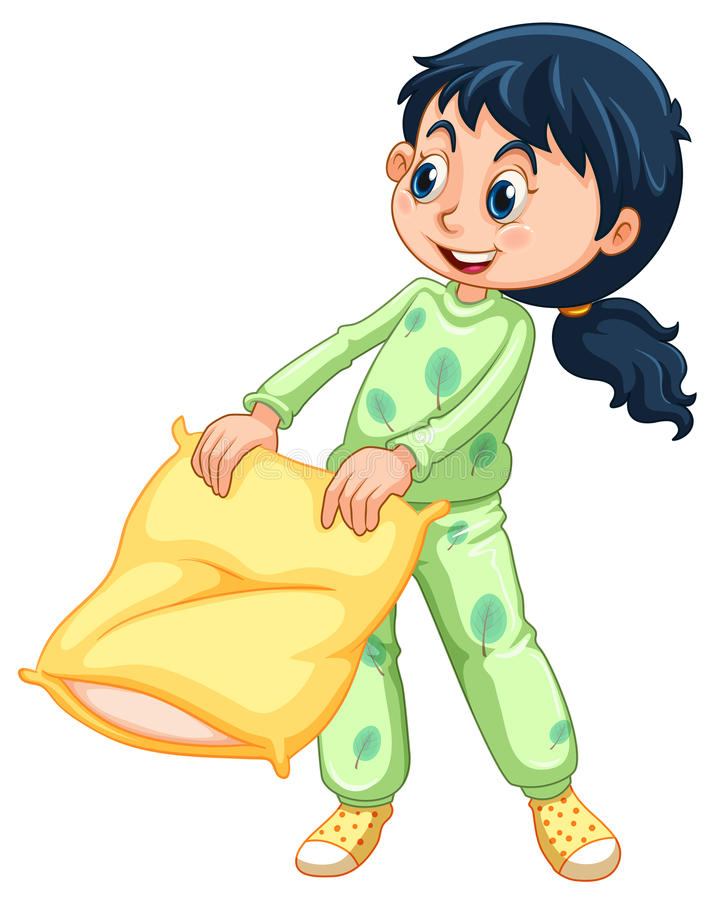 Dziewczyna w zielonych piżamach royalty ilustracja
