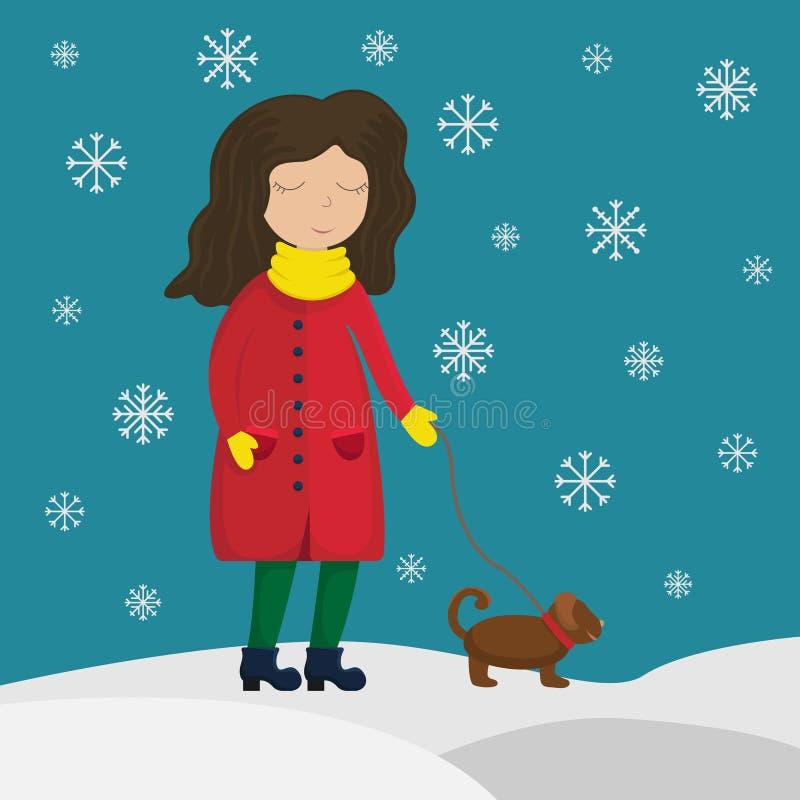 Dziewczyna w zima żakieta odprowadzeniu z psem Płaski zima wektor ilustracji