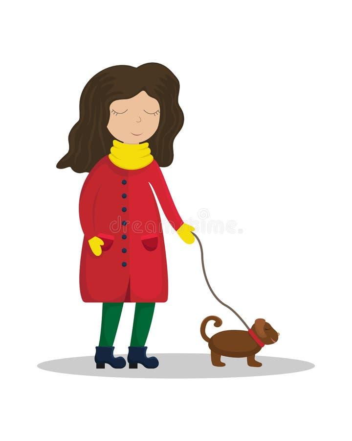 Dziewczyna w zima żakieta odprowadzeniu z psem Płaski zima wektor royalty ilustracja