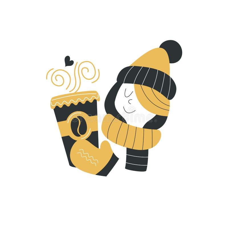 Dziewczyna w zima szaliku i kapeluszu trzyma wielkiego szkło gorąca kawa zimna dzień zima również zwrócić corel ilustracji wektor ilustracji