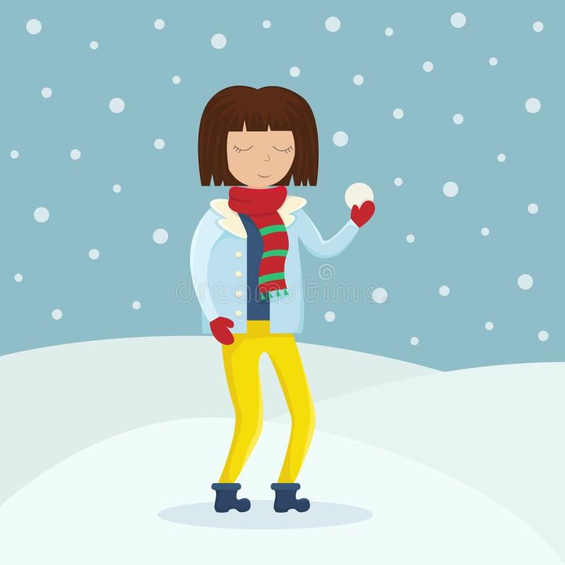 Dziewczyna w zimie odziewa z snowball w ona ręki ilustracji
