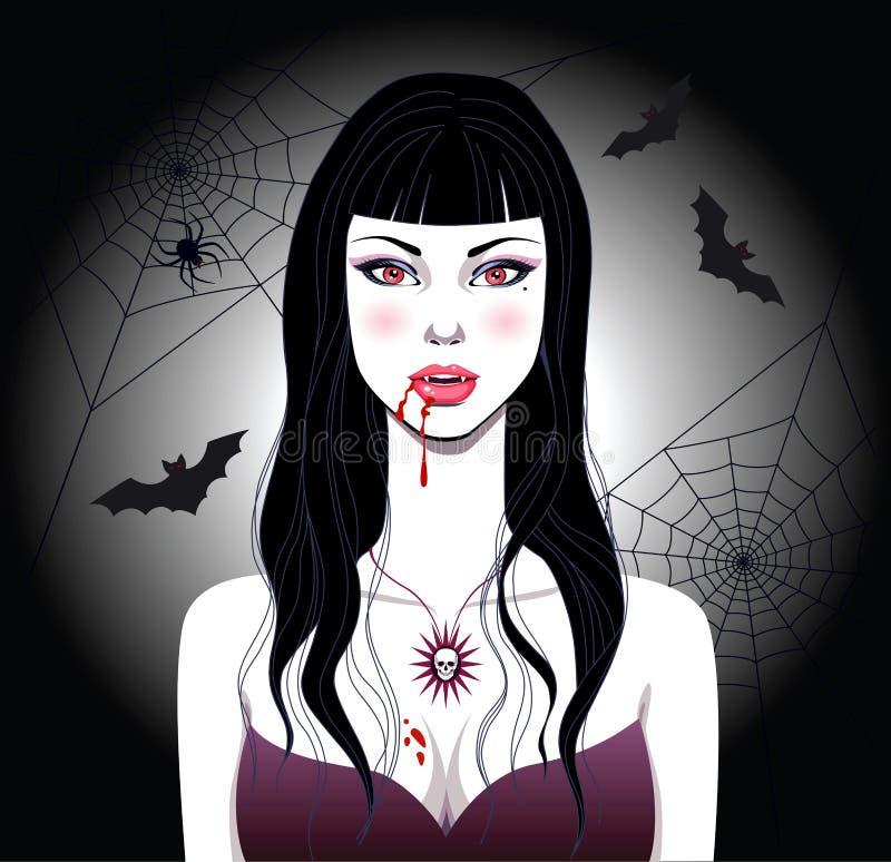 dziewczyna wampir royalty ilustracja